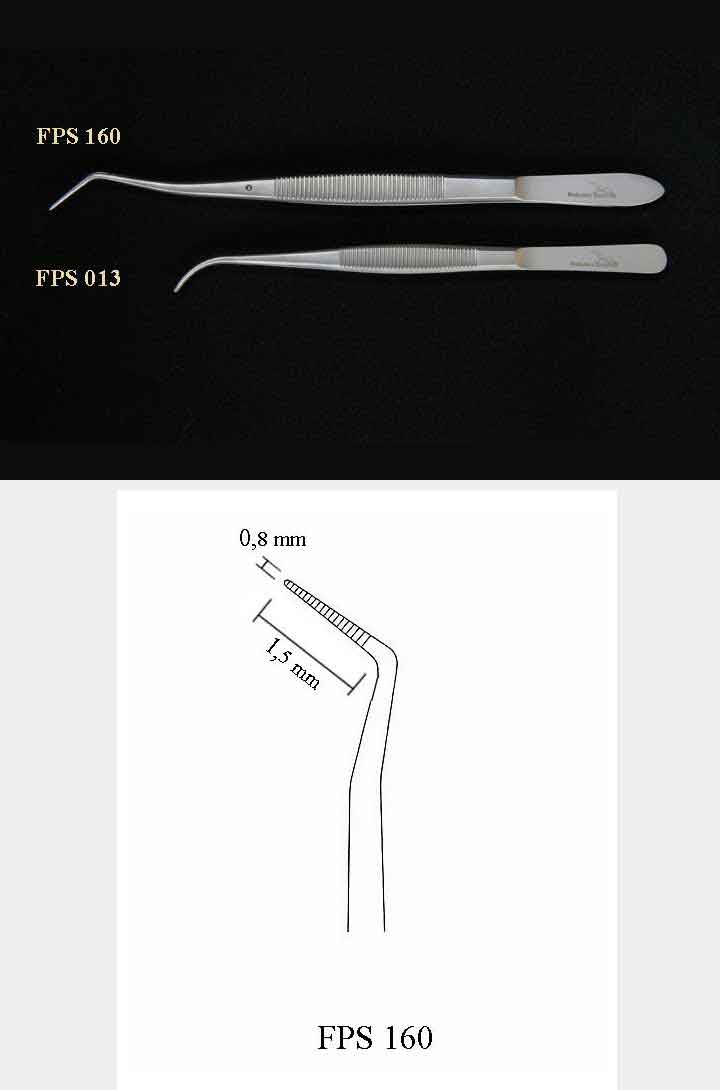 Forceps l. 160 mm, angled 45° tip
