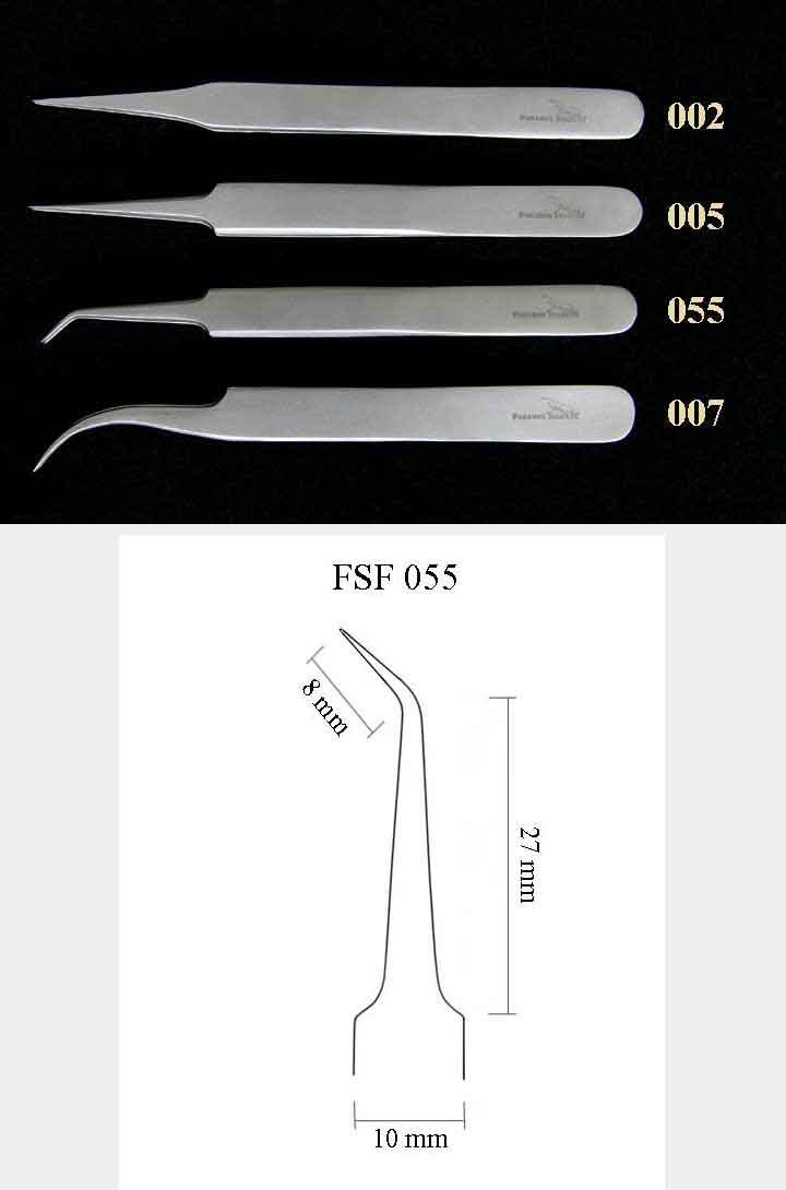 Precision Forceps 055, l. 115 mm, angled 45° tip
