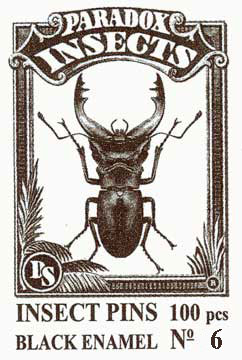 Insect Pins - Black <b>No 6</b>, 100 pcs.